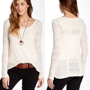 Lucky Brand Ginny & Lace Thermal Knit Top L